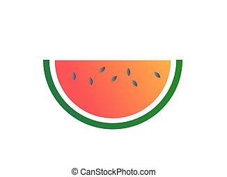 Vector, kleurrijke, helling,  fruit, watermeloen, schitteren, pictogram