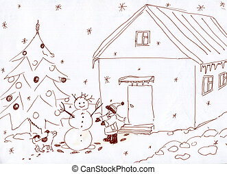 The child builds the snowman - The child with the dog has...
