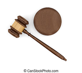 3d rendering of an isolated dark wood judge gavel and sound block in top view.