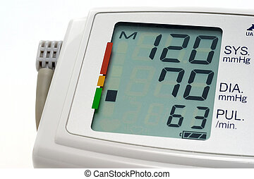 Blood pressure measuring indicates normal pressure on a...