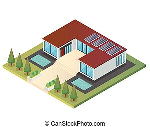 Modern Luxury Isometric Green Eco Friendly House With Solar Panel