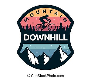 Modern Downhill Bike Logo Badge Illustration