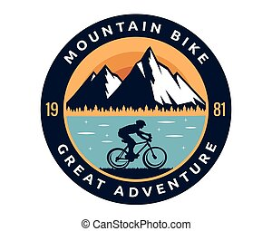 Modern Downhill Bike Logo Badge Illustration - Extreme...