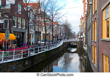 Delft residential district - Houses and Canal in Delft...