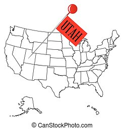 Knob Pin Utah - An outline map of USA with a knob pin in the...