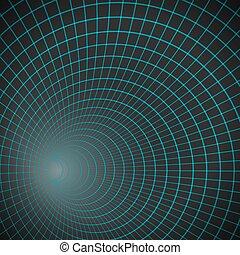 Vector Spiral Tunnel. Wireframe Technology Vortex Tunnel Illusion Background