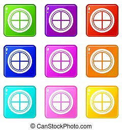 White round window set 9 - White round window icons of 9...