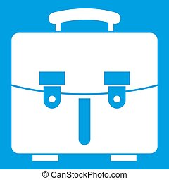 Diplomat bag icon white isolated on blue background...