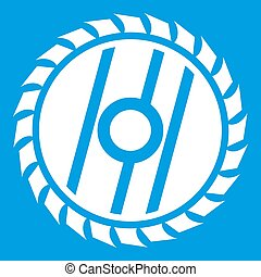 Circular saw blade icon white isolated on blue background...