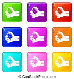 Hand holding stopwatch set 9 - Hand holding stopwatch icons...