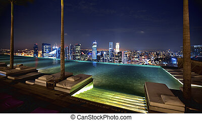 Singapore view - Singapore from swimming pool area on a...