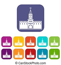 Russian kremlin icons set illustration in flat style in...