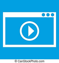 Program for video playback icon white isolated on blue...
