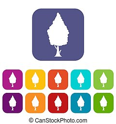 Cypress icons set illustration in flat style in colors red,...