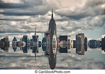 New York City Skyscrapers Reflections