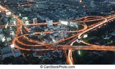 Bangkok night traffic timelapse - Night traffic at road...