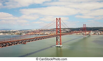 25 Abril Bridge timelapse - 25 de Abril Bridge timelapse is...