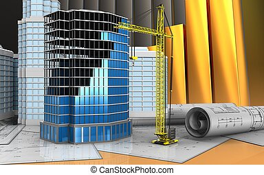 3d drawings rolls - 3d illustration of office building...