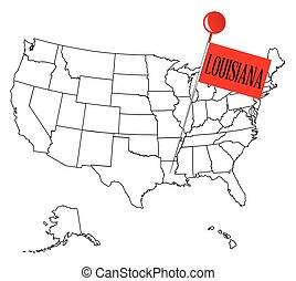 Knob Pin Louisiana - An outline map of USA with a knob pin...