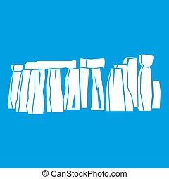 Stonehenge icon white isolated on blue background...