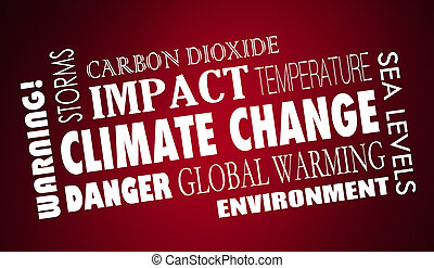 Climate Change Global Warming Word Collage 3d Illustration
