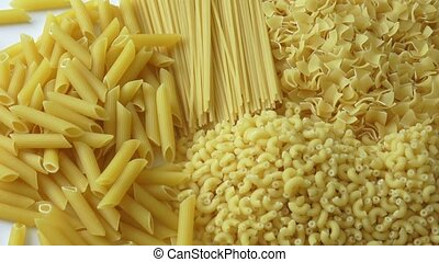 Set of raw dry pasta. Variety of types of Italian pasta.