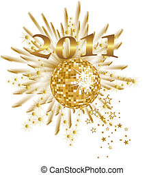 new years eve - 2011 - vector illustration of a golden...