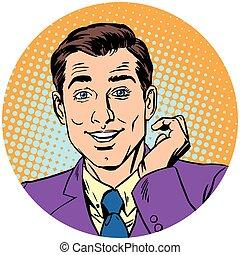 cute handsome man Round icon. . Pop art retro vector...