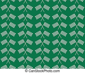 Crossed waving black and white checkered flags seamless pattern background vector endless texture. Original concept of motor bike sport