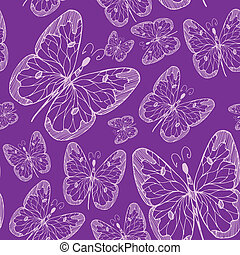 Seamless abstract pattern background with flying hand drawn butterflies. illustration. Design for textile or paper.
