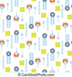 Abstract folk floral art pattern seamless vector. - Abstract...