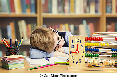 Student Child Sleeping in School, Tired Kid Asleep on table, children hard difficult education