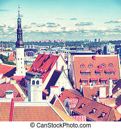 Old town of Tallin with Holy Spirit Church tower, Estonia....