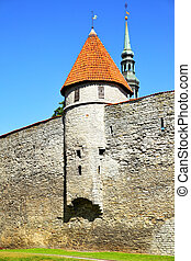City walls of Tallin - City walls of Old town of Tallin,...