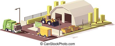 Vector low poly waste transfer station - Vector low poly...