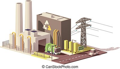 Vector low poly waste-to-energy plant icon with power line...