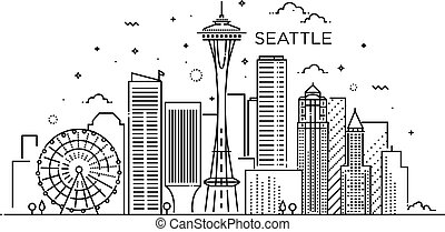 Banner of Seattle city in flat line trendy style. Seattle...