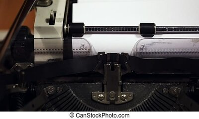 Old vintage typewriter closeup footage slow motion from...
