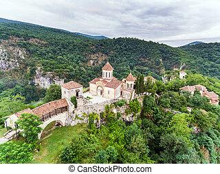géorgie, vieux, monastère, aerial., aussi, connu, forêts,...