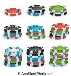 Gambling Chips Stacks Vector. 3D Realistic. Poker Game Chips...
