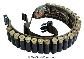 Hunter rifle ammo ammunition belt and bandolier, cartridges...