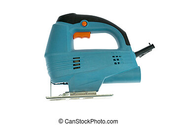 Blue fretsaw cutting tool on white background