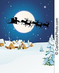Christmas design - vector illustration of santa`s sleigh...