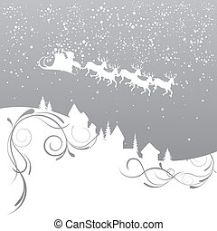 Christmas Background - Illustration of santa`s sleigh flying...