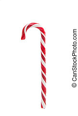 Christmas decoration. Traditional holiday candy cane isolated on white.