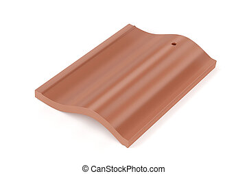 Roof tile on white background