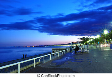 Promenade des Anglais at night, French riviera