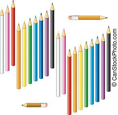 Collection of colored pencils on a white background.