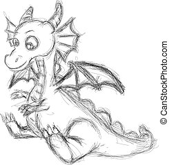 sketch of a cute winged dragon - Vector illustration sketch...