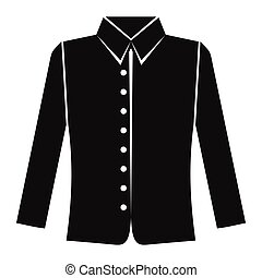 Shirt with long sleeves in black simple silhouette style icons vector illustration